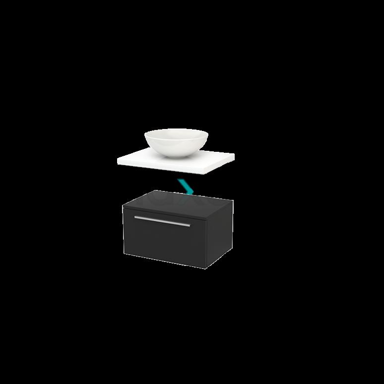 Lage Badkamerkast met Wastafelblad 60x35cm Modulo+ Plato Carbon Vlak