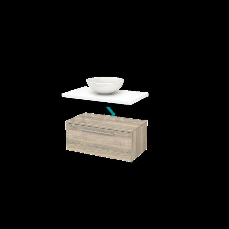 Lage Badkamerkast met Wastafelblad 80x35cm Modulo+ Plato Eiken Vlak