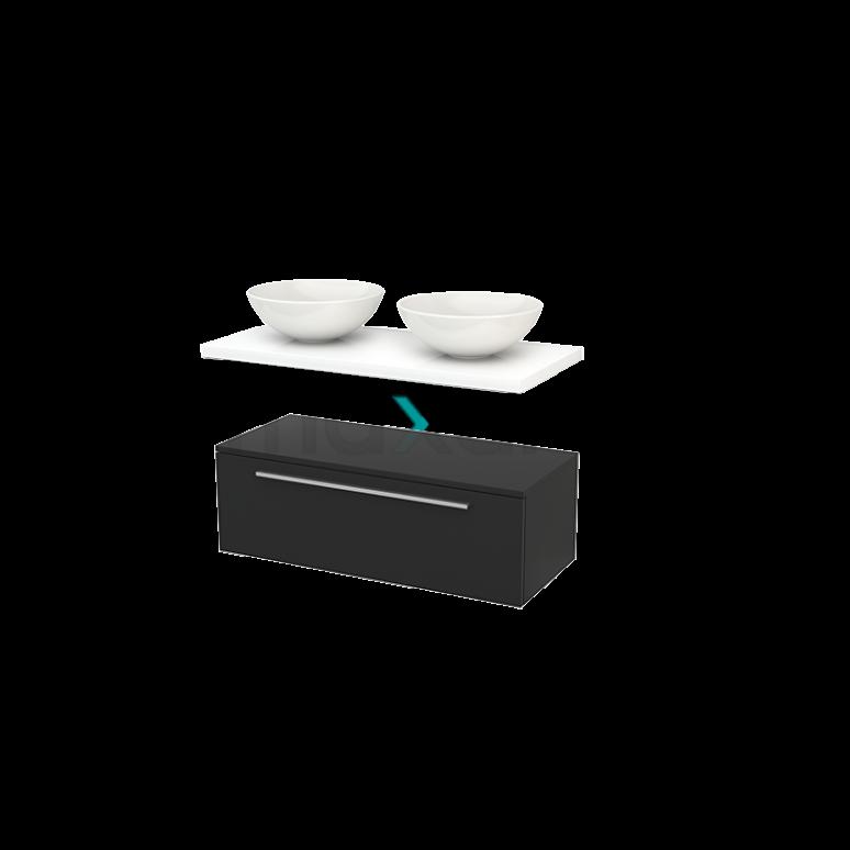 Lage Badkamerkast met Wastafelblad 100x35cm Modulo+ Plato Carbon Vlak