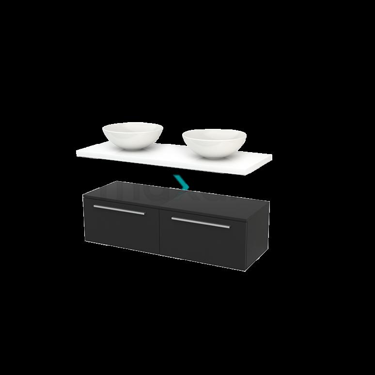 Lage Badkamerkast met Wastafelblad 120x35cm Modulo+ Plato Carbon Vlak