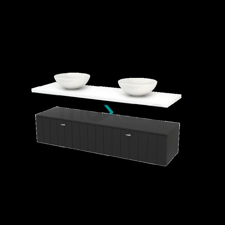 Lage Badkamerkast met Wastafelblad 160x35cm Modulo+ Plato Carbon Lamel