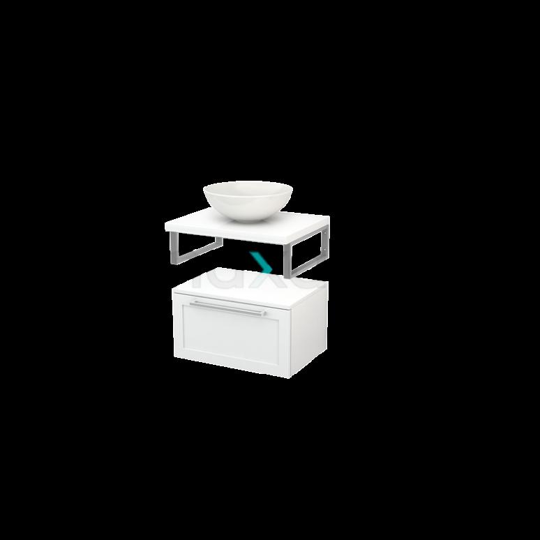 Lage Badkamerkast met Wastafelblad 60x35cm Modulo+ Plato Hoogglans Wit 1 Lade Kader