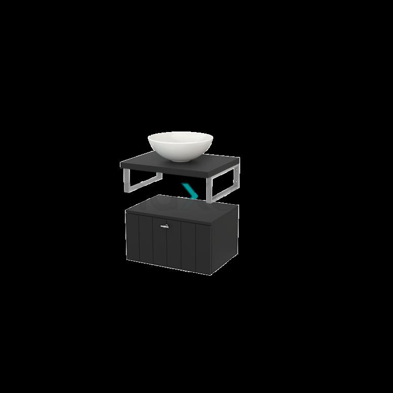 Lage Badkamerkast met Wastafelblad 60x35cm Modulo+ Plato Carbon 1 Lade Lamel