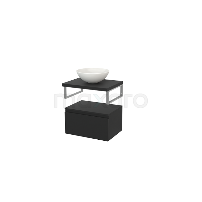 Lage Badkamerkast met Wastafelblad 60x35cm Modulo+ Plato Carbon 1 Lade Greeploos
