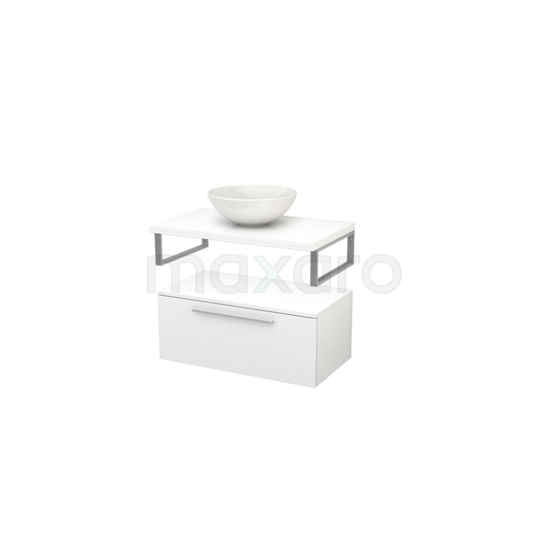 Lage Badkamerkast met Wastafelblad 80x35cm Modulo+ Plato Hoogglans Wit 1 Lade Vlak