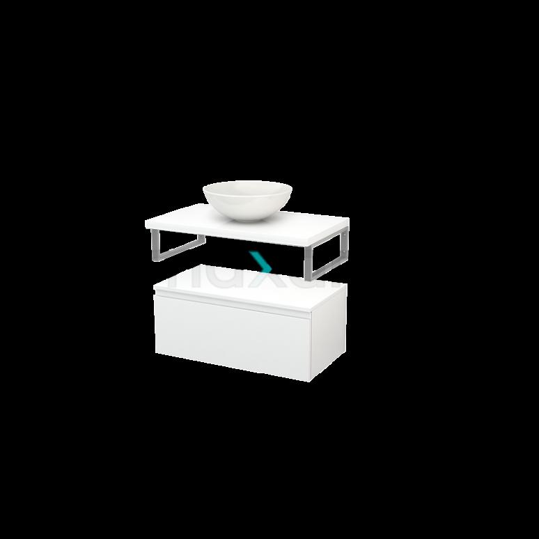 Lage Badkamerkast met Wastafelblad 80x35cm Modulo+ Plato Hoogglans Wit 1 Lade Greeploos