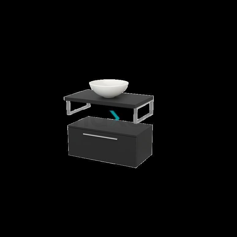 Lage Badkamerkast met Wastafelblad 80x35cm Modulo+ Plato Carbon 1 Lade Vlak