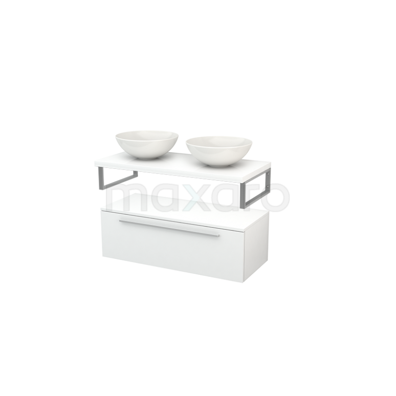 Lage Badkamerkast met Wastafelblad 100x35cm Modulo+ Plato Hoogglans Wit 1 Lade Vlak