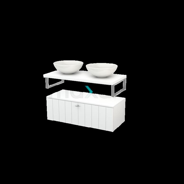 Lage Badkamerkast met Wastafelblad 100x35cm Modulo+ Plato Hoogglans Wit 1 Lade Lamel