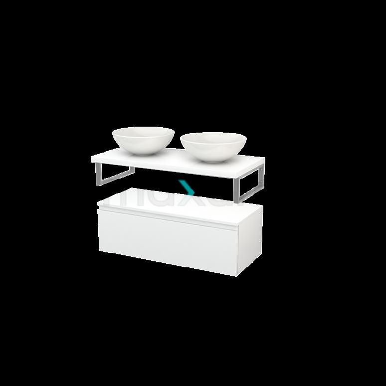 Lage Badkamerkast met Wastafelblad 100x35cm Modulo+ Plato Hoogglans Wit 1 Lade Greeploos