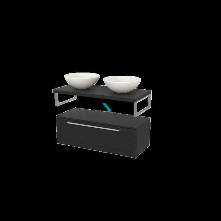 Lage Badkamerkast met Wastafelblad 100x35cm Modulo+ Plato Carbon 1 Lade Kader