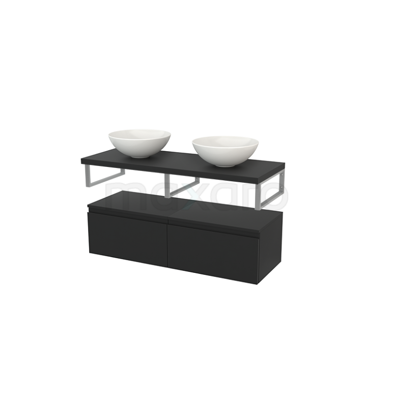 Lage Badkamerkast met Wastafelblad 120x35cm Modulo+ Plato Carbon 2 Lades Greeploos