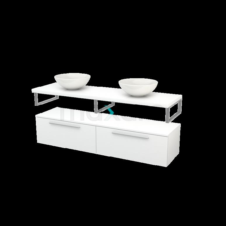 Lage Badkamerkast met Wastafelblad 160x35cm Modulo+ Plato Hoogglans Wit 2 Lades Vlak