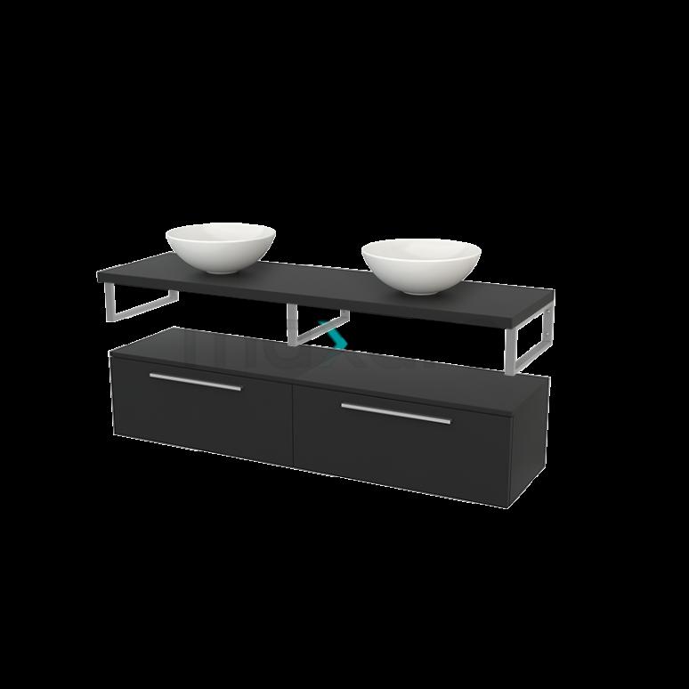 Lage Badkamerkast met Wastafelblad 160x35cm Modulo+ Plato Carbon 2 Lades Vlak
