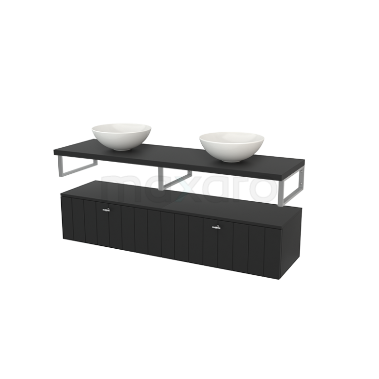 Lage Badkamerkast met Wastafelblad 160x35cm Modulo+ Plato Carbon 2 Lades Lamel