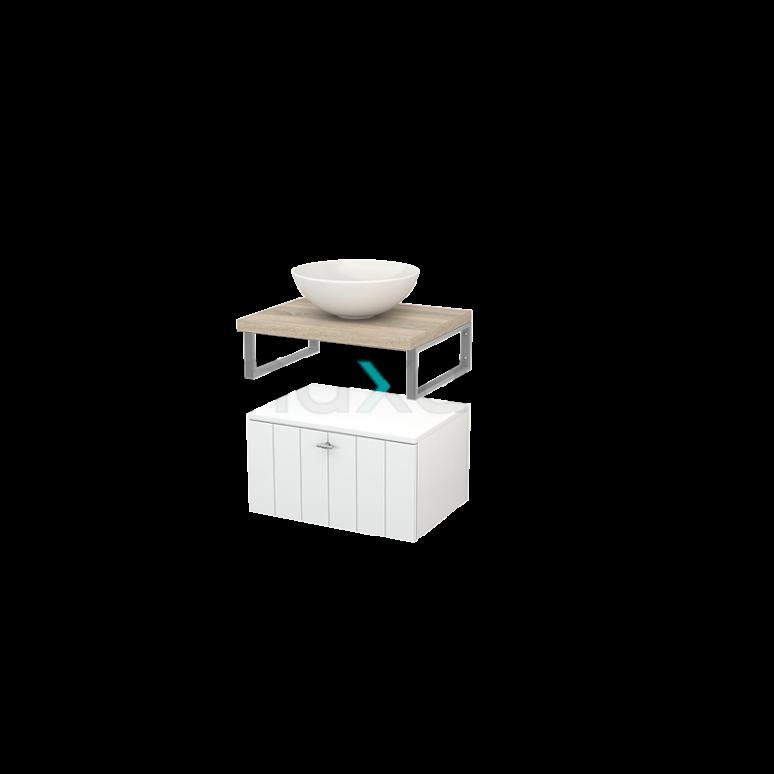 Lage Badkamerkast met Wastafelblad 60x35cm Modulo+ Plato Hoogglans Wit Lamel