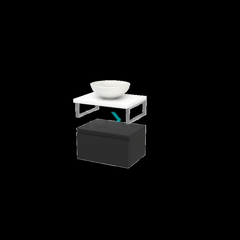 Lage Badkamerkast met Wastafelblad 60x35cm Modulo+ Plato Carbon Greeploos
