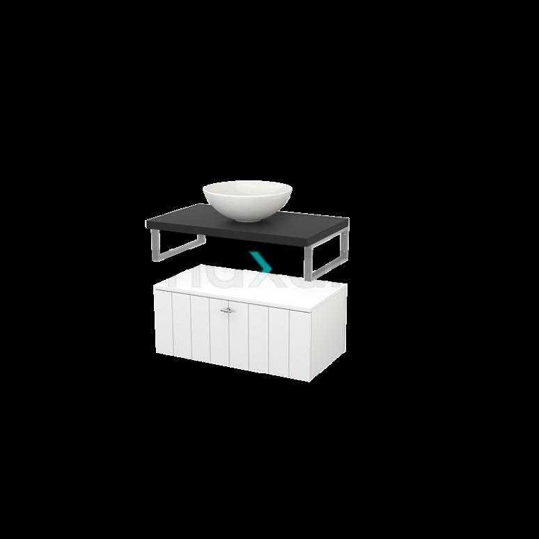 Lage Badkamerkast met Wastafelblad 80x35cm Modulo+ Plato Hoogglans Wit Lamel