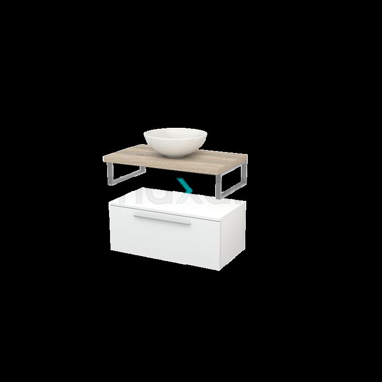Lage Badkamerkast met Wastafelblad 80x35cm Modulo+ Plato Hoogglans Wit Vlak