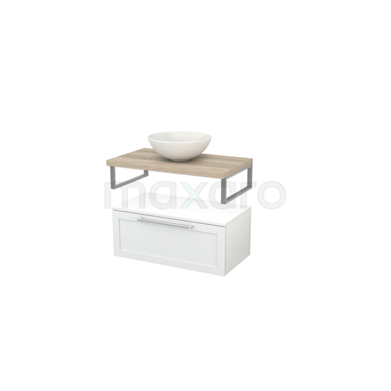 Lage Badkamerkast met Wastafelblad 80x35cm Modulo+ Plato Hoogglans Wit Kader