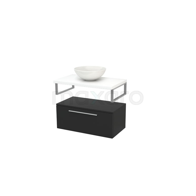 Lage Badkamerkast met Wastafelblad 80x35cm Modulo+ Plato Carbon Vlak