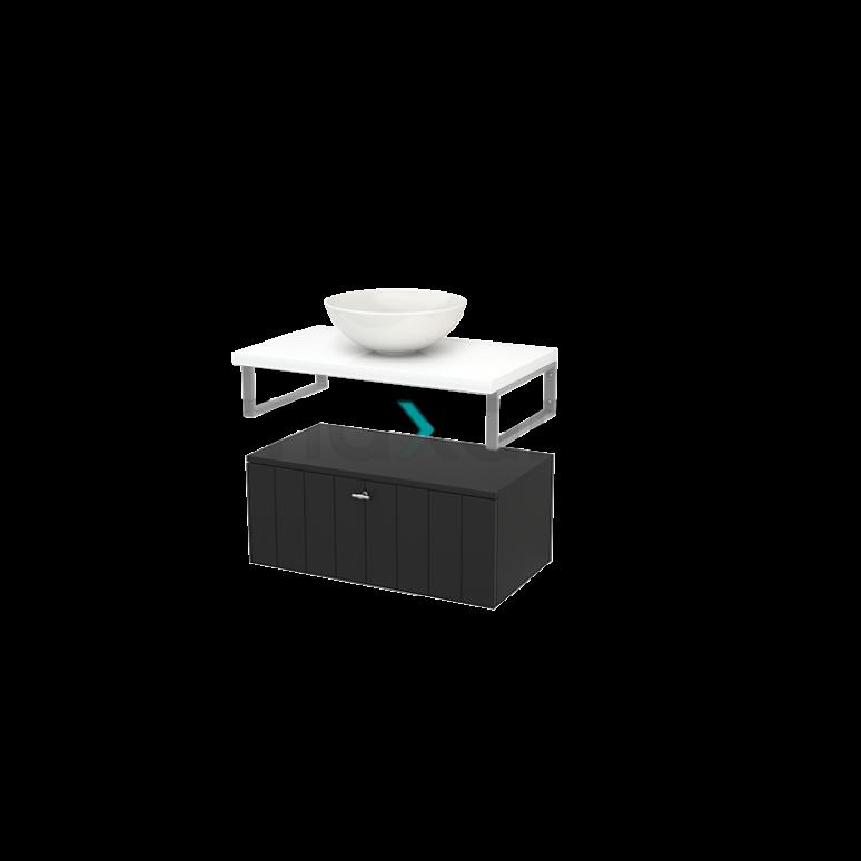 Lage Badkamerkast met Wastafelblad 80x35cm Modulo+ Plato Carbon Lamel