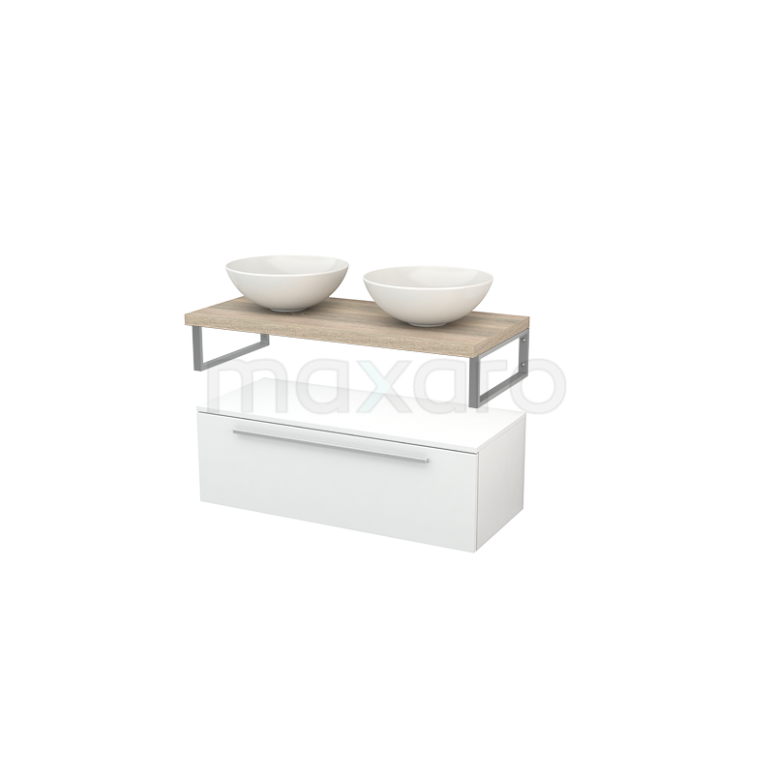 Lage Badkamerkast met Wastafelblad 100x35cm Modulo+ Plato Hoogglans Wit Vlak