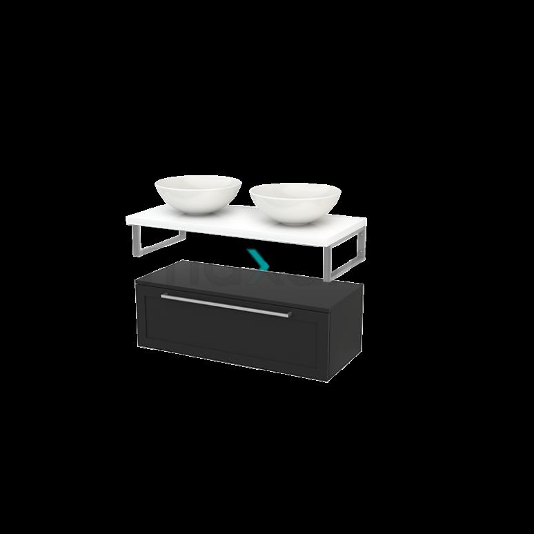 Lage Badkamerkast met Wastafelblad 100x35cm Modulo+ Plato Carbon Kader