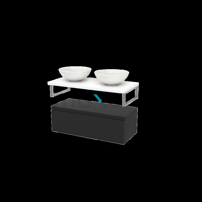 Lage Badkamerkast met Wastafelblad 100x35cm Modulo+ Plato Carbon Greeploos