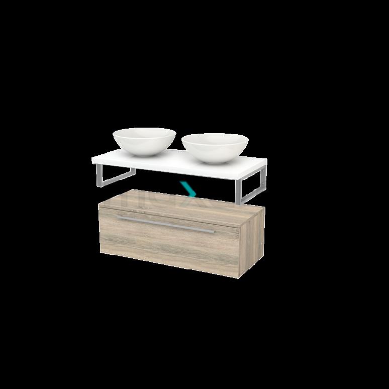 Lage Badkamerkast met Wastafelblad 100x35cm Modulo+ Plato Eiken Vlak