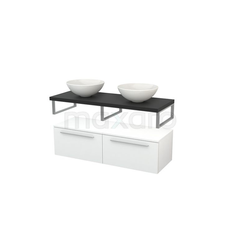 Lage Badkamerkast met Wastafelblad 120x35cm Modulo+ Plato Hoogglans Wit Vlak