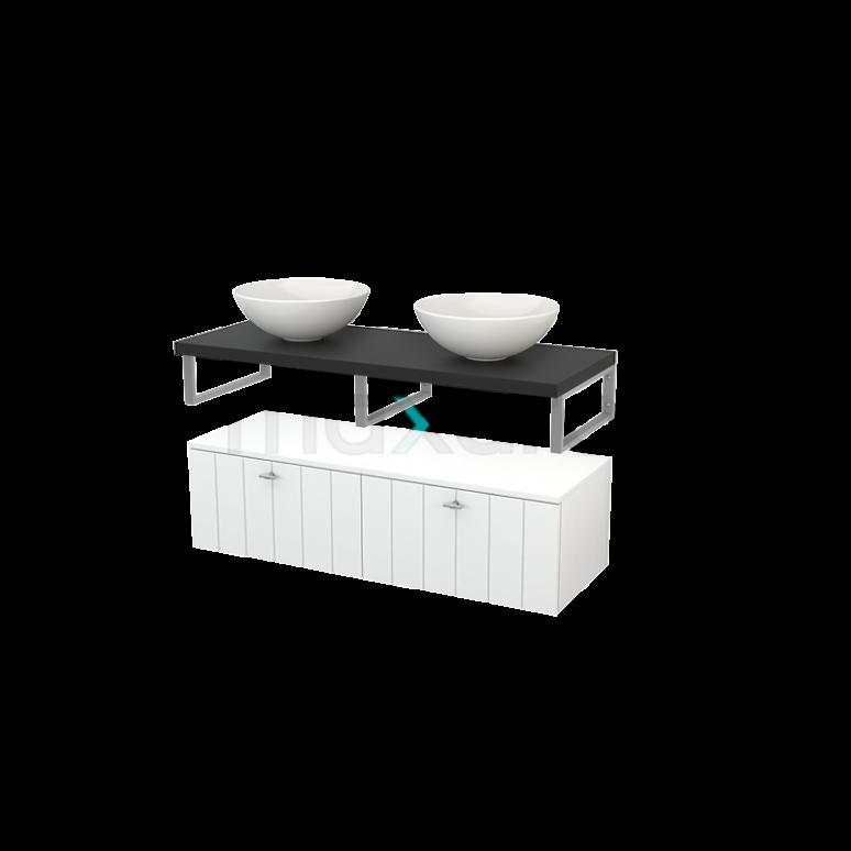 Lage Badkamerkast met Wastafelblad 120x35cm Modulo+ Plato Hoogglans Wit Lamel