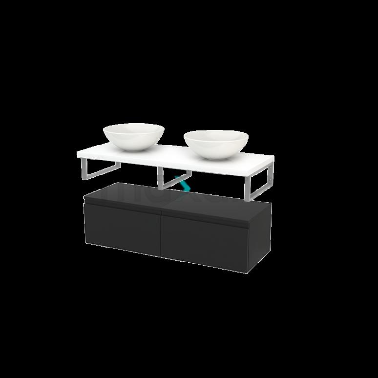 Lage Badkamerkast met Wastafelblad 120x35cm Modulo+ Plato Carbon Greeploos