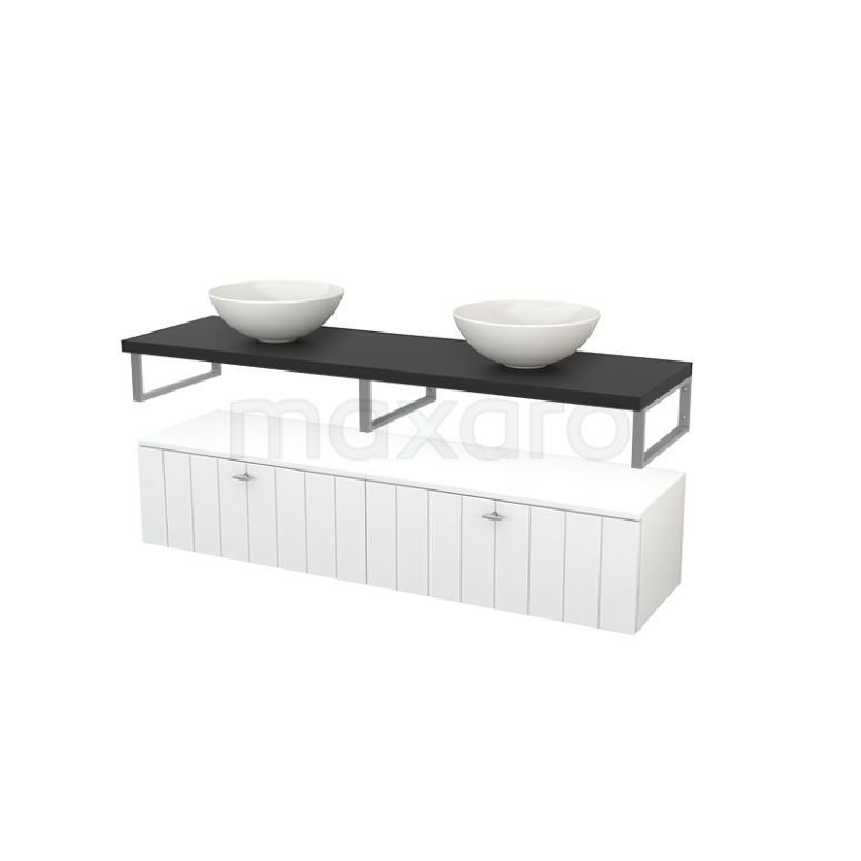 Lage Badkamerkast met Wastafelblad 160x35cm Modulo+ Plato Hoogglans Wit Lamel