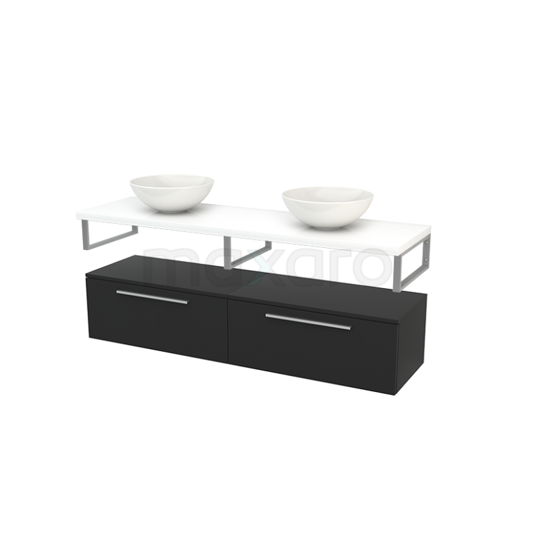 Lage Badkamerkast met Wastafelblad 160x35cm Modulo+ Plato Carbon Vlak