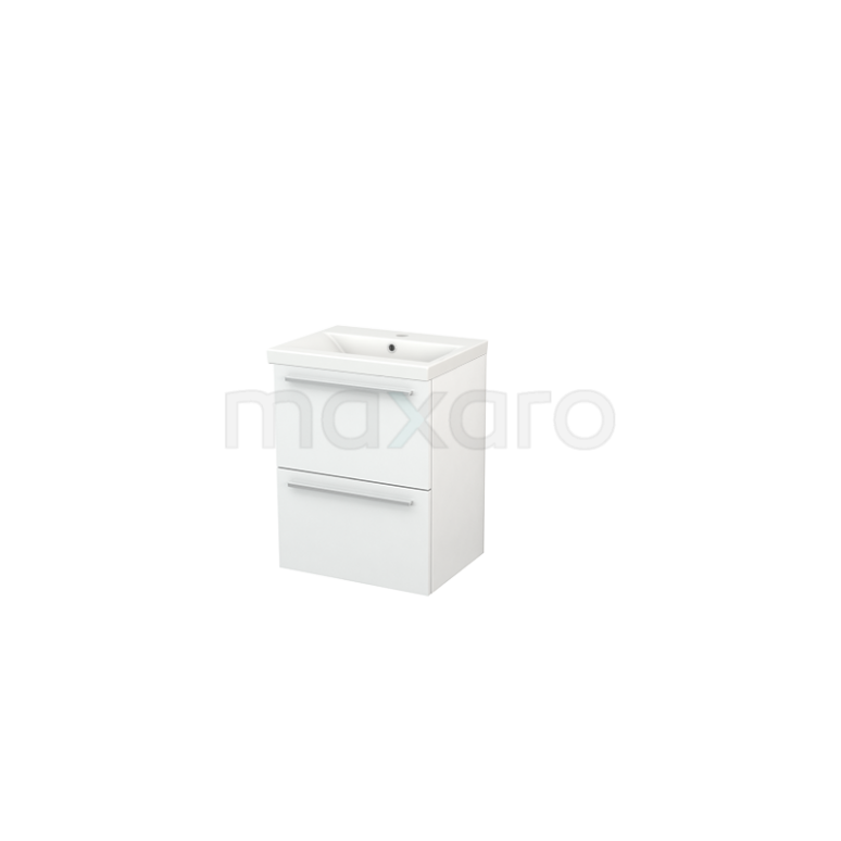 Badkamermeubel 50cm Modulo+ Slim Hoogglans Wit 2 Lades Vlak Wastafel Keramiek