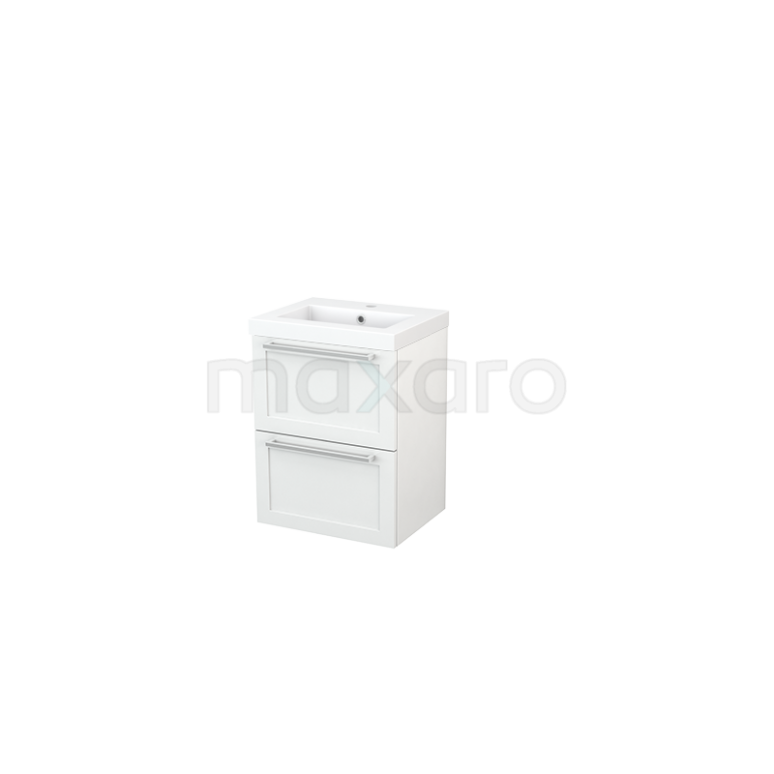 Badkamermeubel 50cm Modulo+ Slim Hoogglans Wit 2 Lades Kader Wastafel Mineraalmarmer