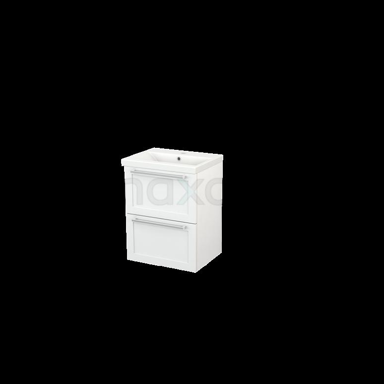 Badkamermeubel 50cm Modulo+ Slim Hoogglans Wit 2 Lades Kader Wastafel Keramiek