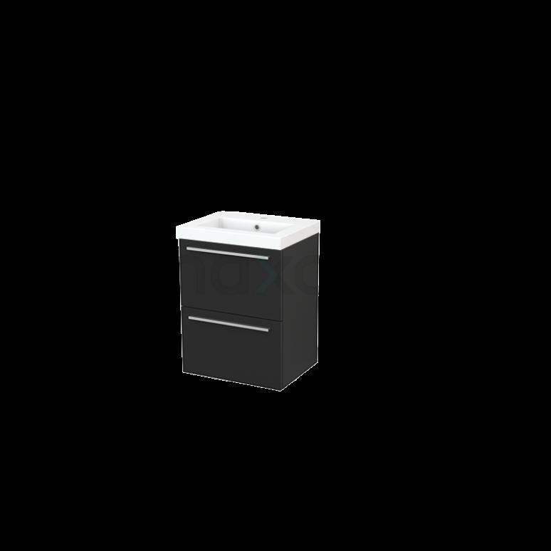 Badkamermeubel 50cm Modulo+ Slim Carbon 2 Lades Vlak Wastafel Mineraalmarmer