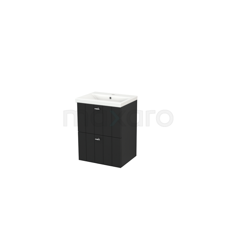 Badkamermeubel 50cm Modulo+ Slim Carbon 2 Lades Lamel Wastafel Keramiek
