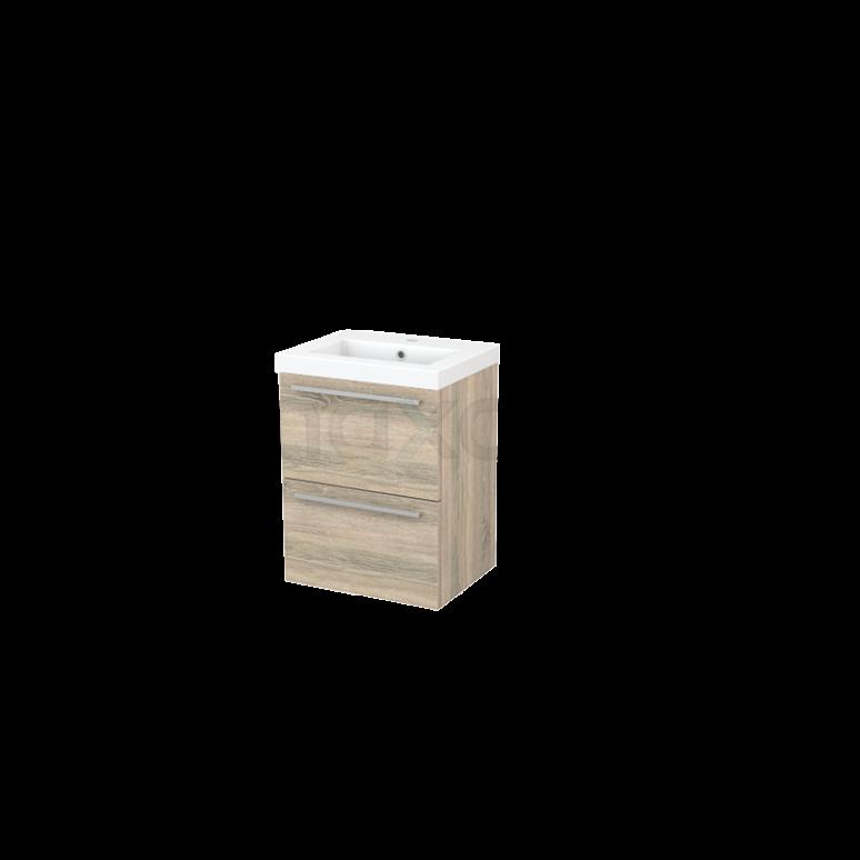 Badkamermeubel 50cm Modulo+ Slim Eiken 2 Lades Vlak Wastafel Mineraalmarmer