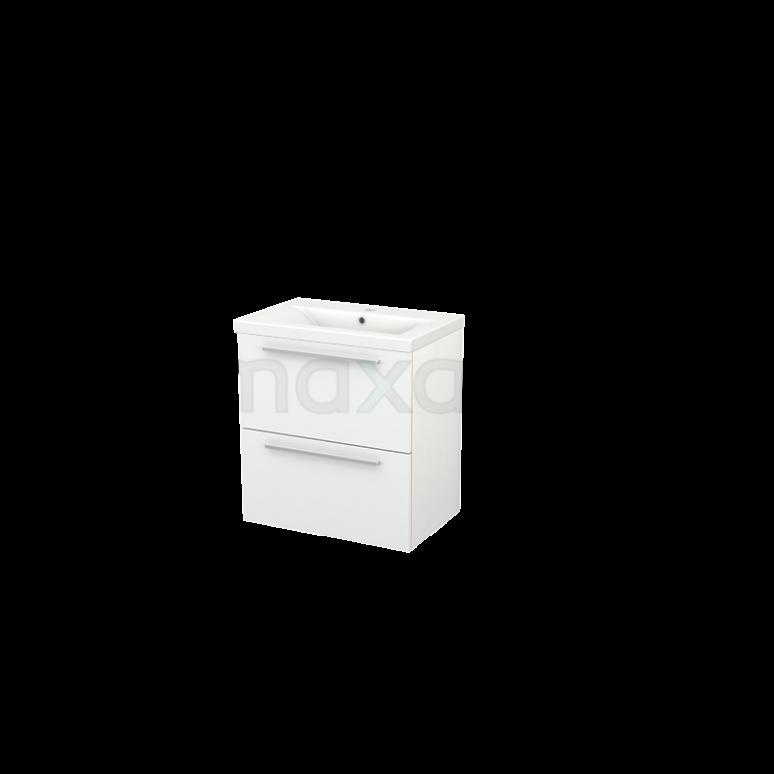 Badkamermeubel 60cm Modulo+ Slim Hoogglans Wit 2 Lades Vlak Wastafel Keramiek