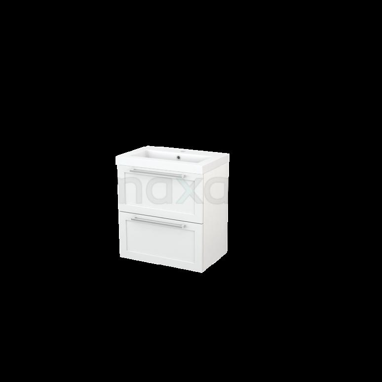 Badkamermeubel 60cm Modulo+ Slim Hoogglans Wit 2 Lades Kader Wastafel Mineraalmarmer