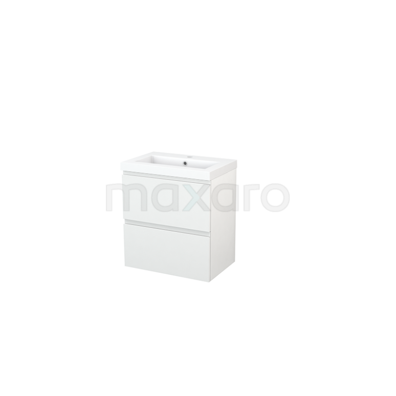 Badkamermeubel 60cm Modulo+ Slim Hoogglans Wit 2 Lades Greeploos Wastafel Mineraalmarmer