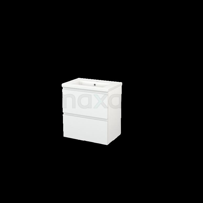 Badkamermeubel 60cm Modulo+ Slim Hoogglans Wit 2 Lades Greeploos Wastafel Keramiek