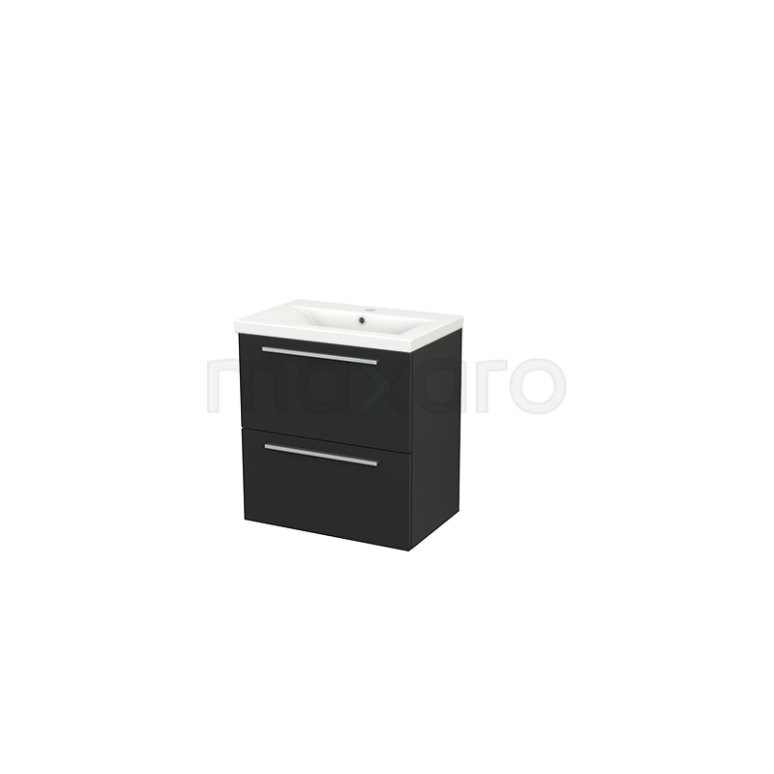 Badkamermeubel 60cm Modulo+ Slim Carbon 2 Lades Vlak Wastafel Keramiek