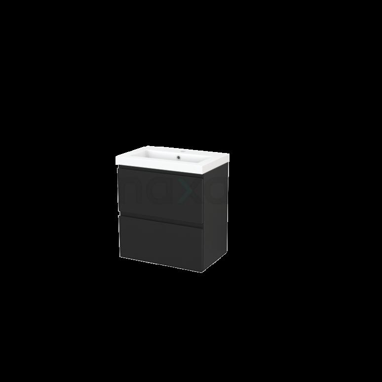 Badkamermeubel 60cm Modulo+ Slim Carbon 2 Lades Greeploos Wastafel Mineraalmarmer