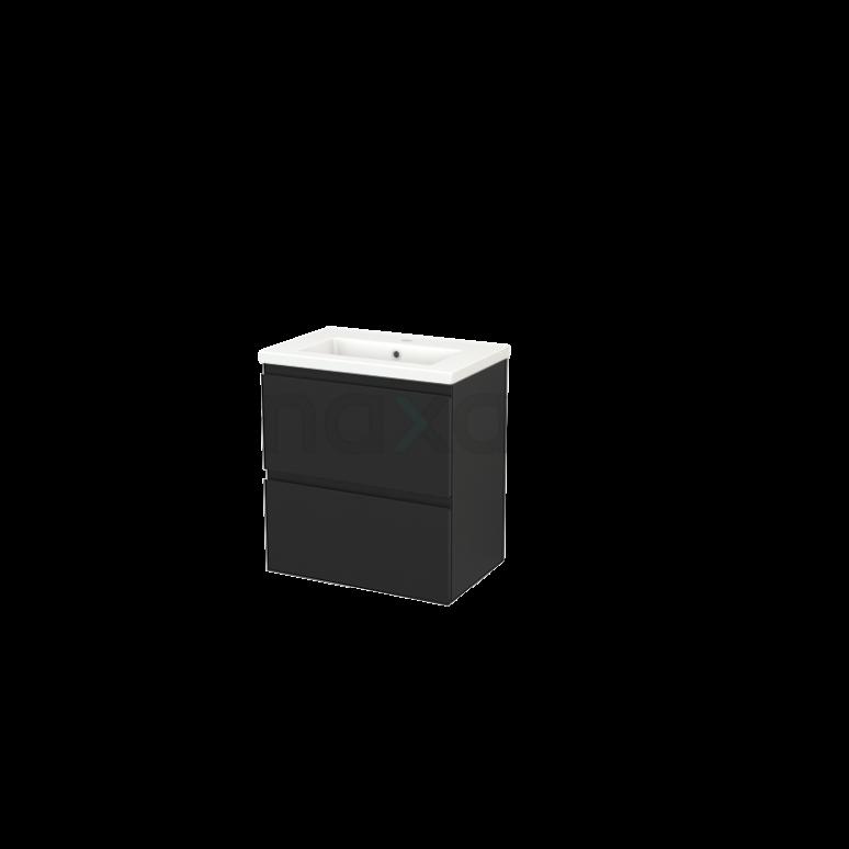 Badkamermeubel 60cm Modulo+ Slim Carbon 2 Lades Greeploos Wastafel Keramiek