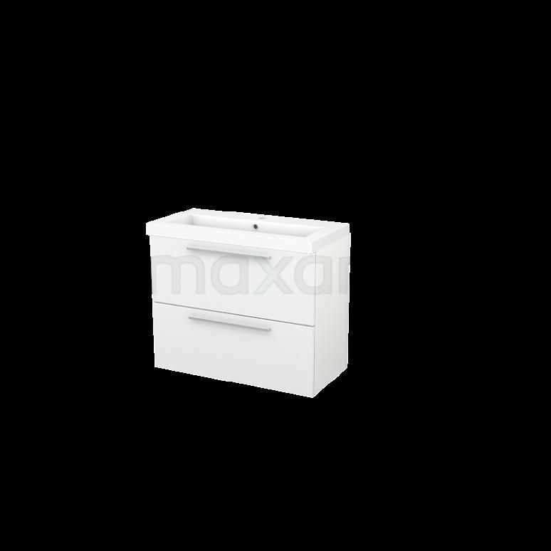 Badkamermeubel 80cm Modulo+ Slim Hoogglans Wit 2 Lades Vlak Wastafel Mineraalmarmer