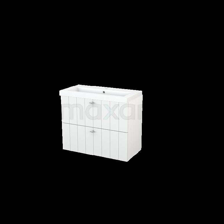 Badkamermeubel 80cm Modulo+ Slim Hoogglans Wit 2 Lades Lamel Wastafel Mineraalmarmer